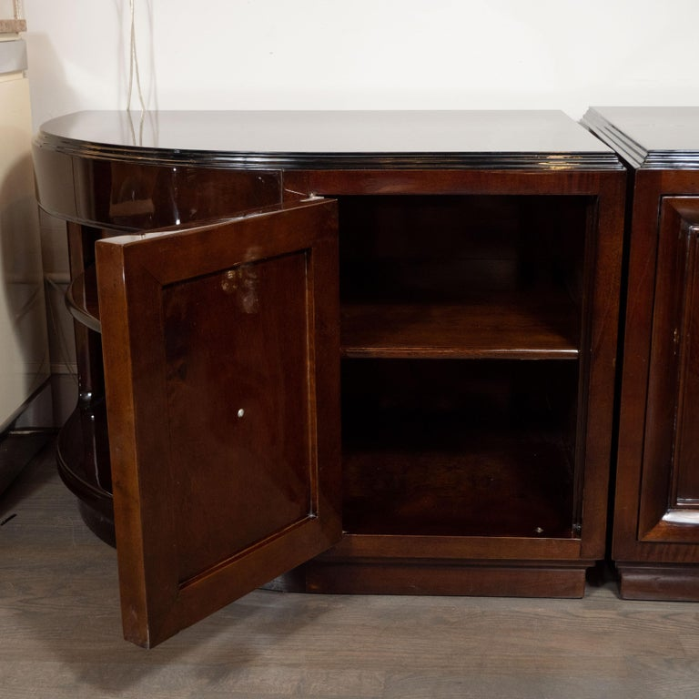 Gilt Pair of Art Deco Walnut End Tables/Nightstands with Gilded Pulls, Grosfeld House For Sale