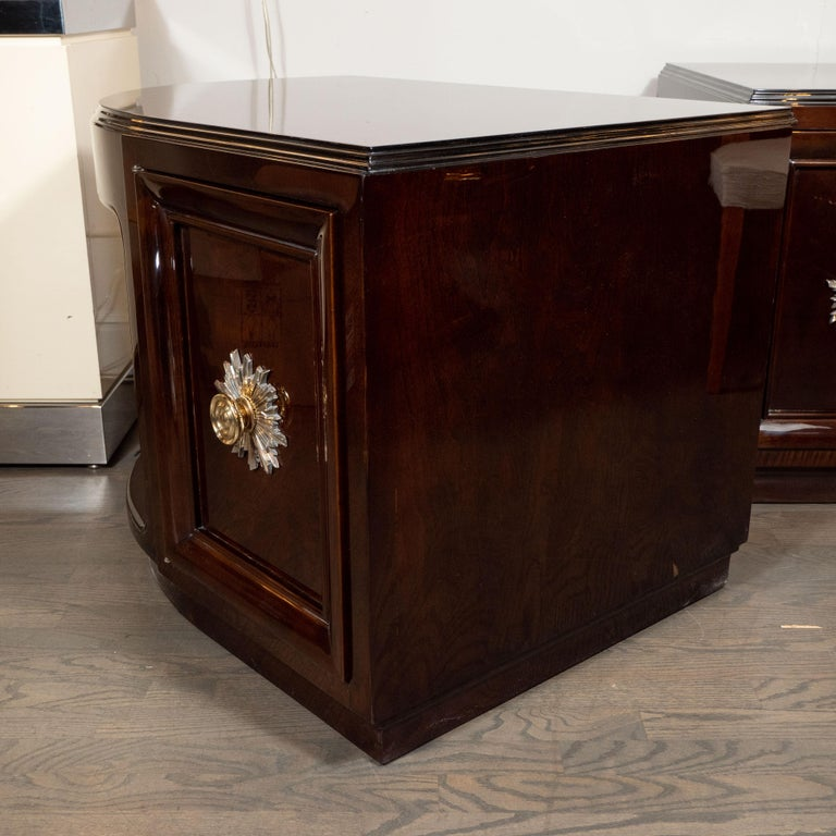 Pair of Art Deco Walnut End Tables/Nightstands with Gilded Pulls, Grosfeld House In Excellent Condition For Sale In New York, NY