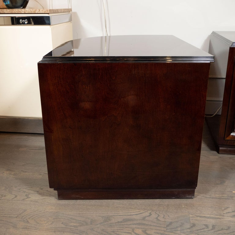 Mid-20th Century Pair of Art Deco Walnut End Tables/Nightstands with Gilded Pulls, Grosfeld House For Sale
