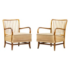 Pair of Art Deco Walnut Lounge Chairs by Kaesz Gyula, Hungary, 1930s