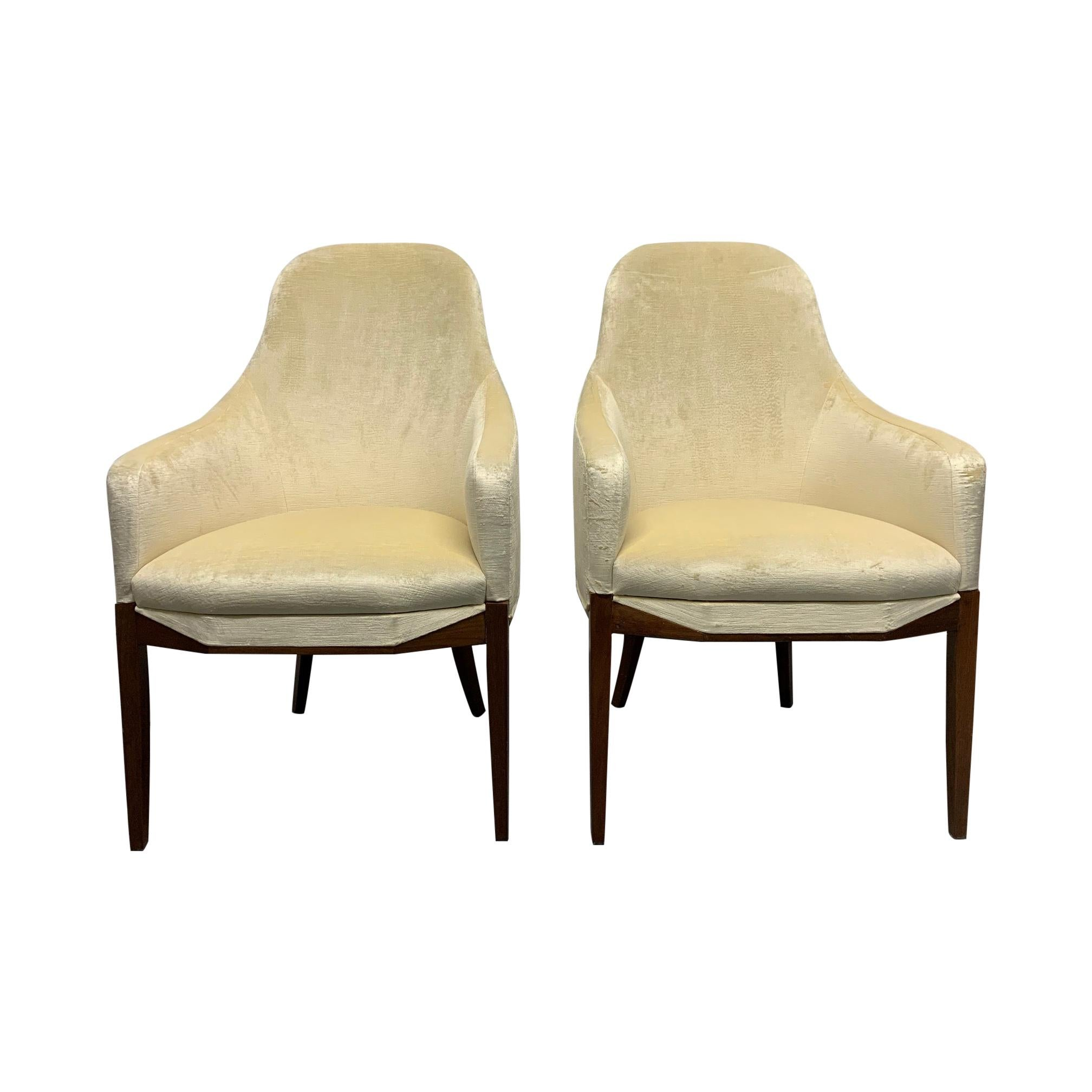 Pair of Art Deco Walnut Side Chairs in Mohair