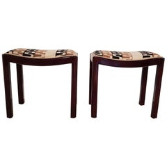 Pair of Art Deco Walnut Upholstered Stools, 1930s, Hungary
