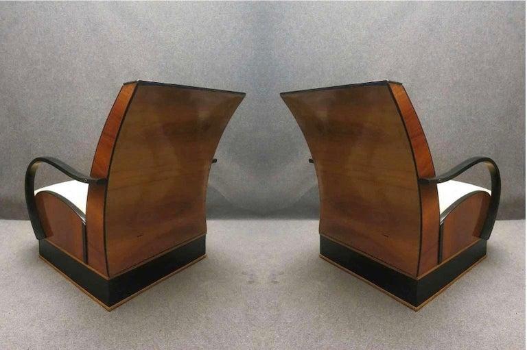 Pair of Art Deco Walnut Wood and Velvet Fabric Italian Armchairs, 1940 For Sale 6