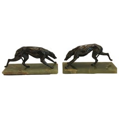 Pair of Art Deco Whippet Motif Bookends