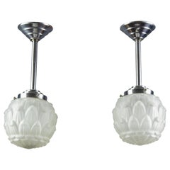 Pair of Art Deco White Frosted Glass and Chrome Pendant Ceiling Lights, 1930s