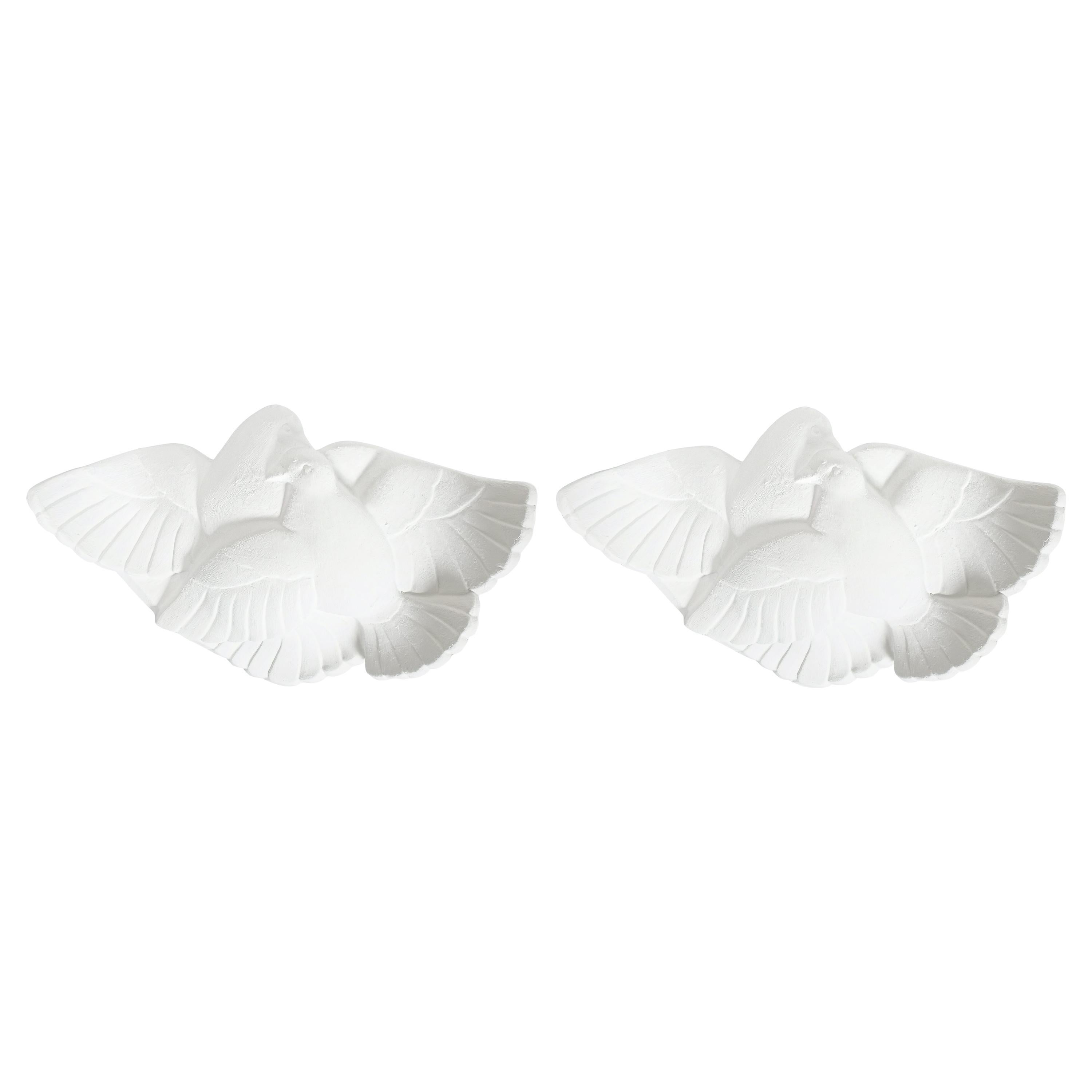 Pair of Art Deco White Plaster Sconces Wall Lamps Attr. Adnet, France circa 1935