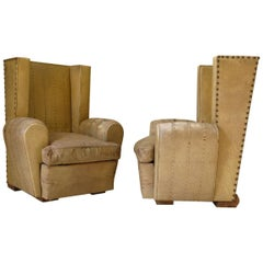 Pair of Art Deco Wingback Club Chairs, France, circa 1940s