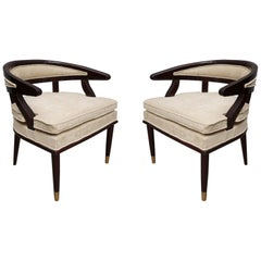 Pair of Art Deco Wood and Brass Italian Armchairs, 1920