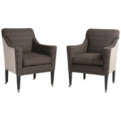 Pair of Art Deco Wool Flannel Armchairs, England, circa 1930