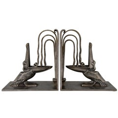 Pair of Art Deco Wrought Iron Pelican Bookends by Edgar Brandt 1924 France