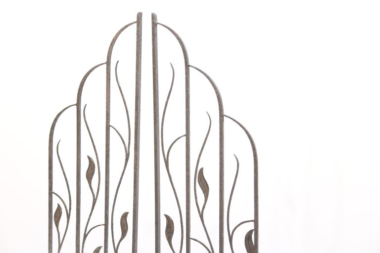 Pair of Art Deco Wrought Iron Room Dividers In Good Condition For Sale In West Palm Beach, FL