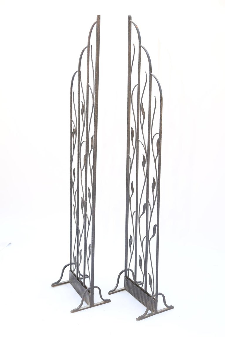 Pair of Art Deco Wrought Iron Room Dividers For Sale 2