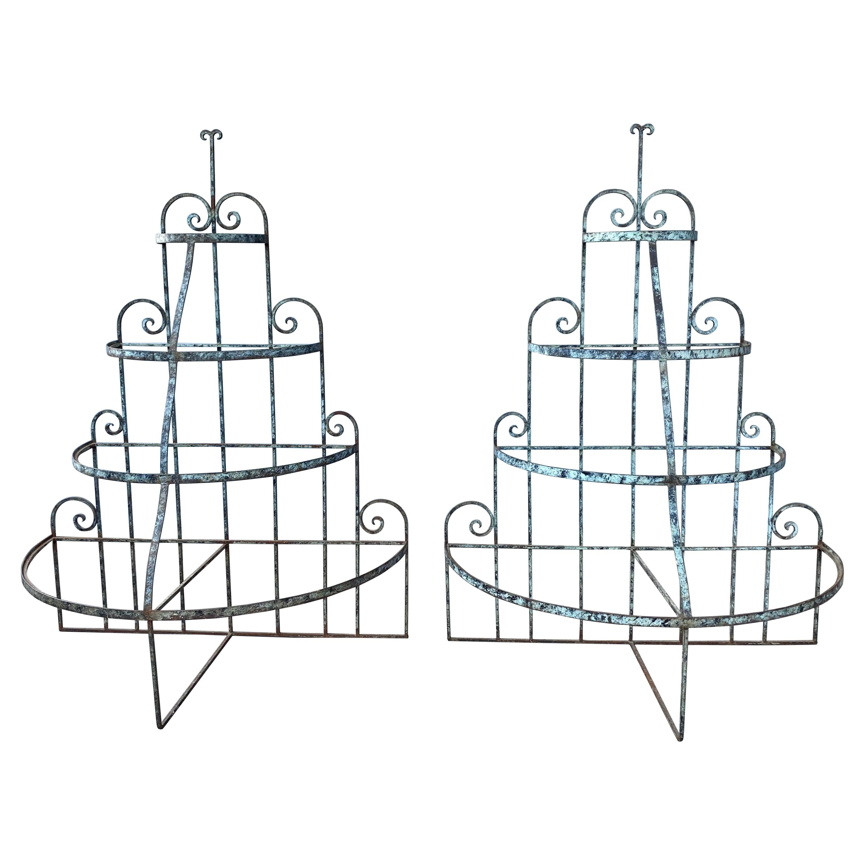 Pair of Art Deco Wrought Iron Store Displays / Stands / Fixtures /Shelves