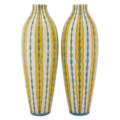 Pair of Art Deco yellow white blue craquelé vases Charles Catteau for Boch, 1923