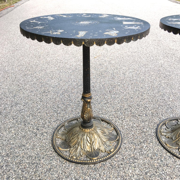 Pair of Art Deco Zodiac Patinated Metal Tables In Good Condition For Sale In Hingham, MA