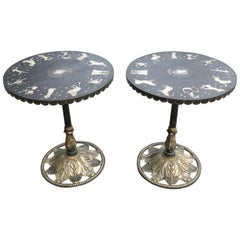 Pair of Art Deco Zodiac Patinated Metal Tables