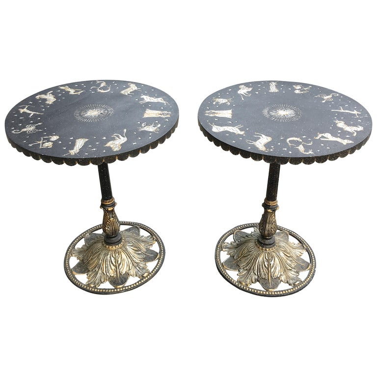 Pair of Art Deco Zodiac Patinated Metal Tables For Sale