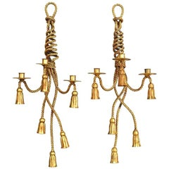 Pair of Art Moderne Rope and Tassel Design Three-Arm Wall Sconces