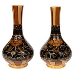 Pair of Art Nouveau 19th Century Wedgewood Marsden Vases with Foliate Designs