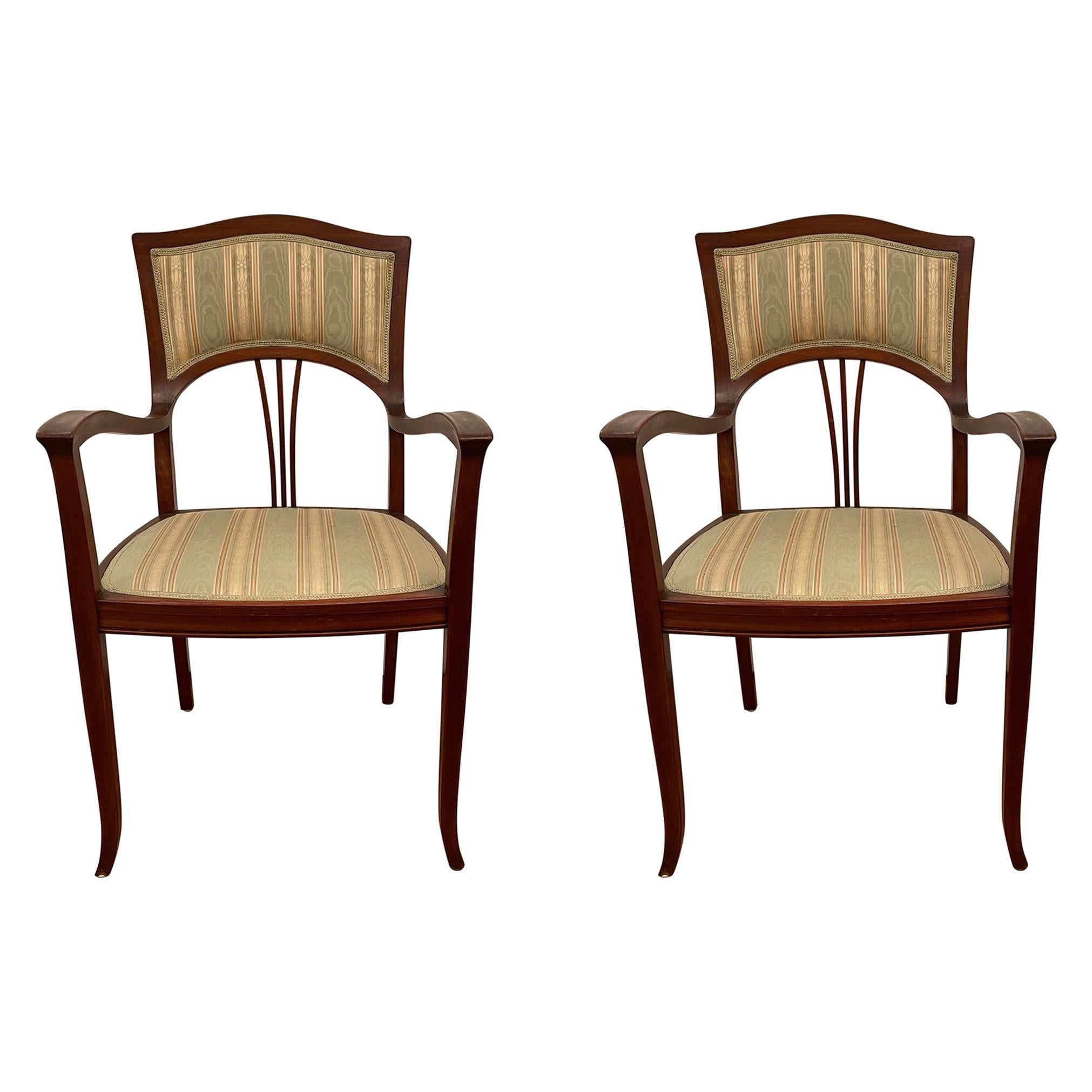 Pair of Art Nouveau Armchairs from Sweden, circa 1900