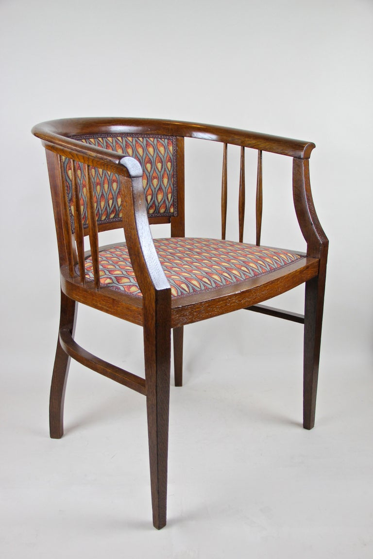 Marvelous pair of Art Nouveau armchairs from the early 20th century in Austria. Coming from circa 1910, these over 100 year old newly restored armchairs were made of fine beechwood, trimmed to a nut wood look. The absolute amazing modern design in
