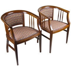 Pair of Art Nouveau Armchairs Newly Upholstered, Austria, circa 1910