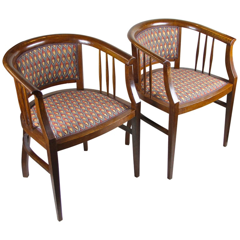 Pair of Art Nouveau Armchairs Newly Upholstered, Austria, circa 1910 For Sale