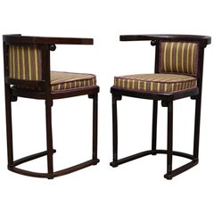 Pair of Art Nouveau Beech Wood and Striped Velvet Austrian Chairs, 1910