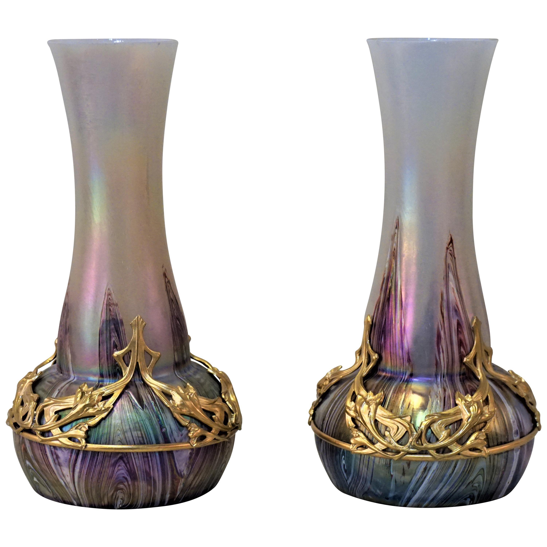 Pair of Art Nouveau Blown Glass and Bronze Vases