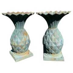 Pair of Art Nouveau Cast Iron Pineapple Planters Uns Vessels jardinières