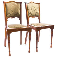 Pair of Art Nouveau Chairs, Beech and Mahogany, Silk Jacquard. circa 1890