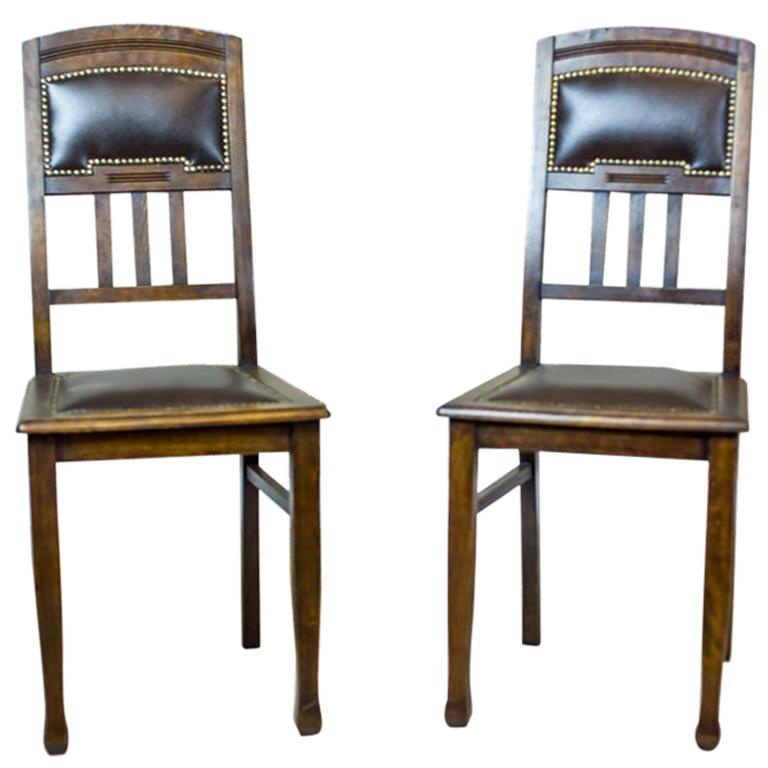 Pair of Art Nouveau Chairs from the Early 20th Century For Sale