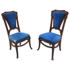 Pair of Art Nouveau Chairs in Mahogany, circa 1900