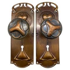 Pair of Art Nouveau Doorknobs and Doorplates