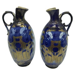 Pair of Art Nouveau English Gold Blue and White Ceramic British Jugs, circa 1900