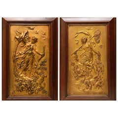 Pair of Art Nouveau Gilt Bronze Plaques by Franz Xaver Bergmann