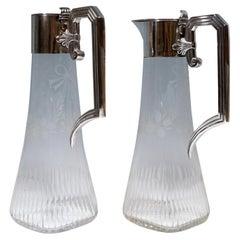 Pair of Art Nouveau Glass Carafes with Silver Mounts, Gaston Bardiés Paris, 1900