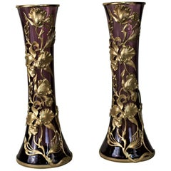 Pair of Art Nouveau Glass Vases with Flower Bronze Overlay