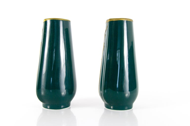 Pair of Art Nouveau Green Ceramic Vases Decorated with Glass Stones For Sale 4