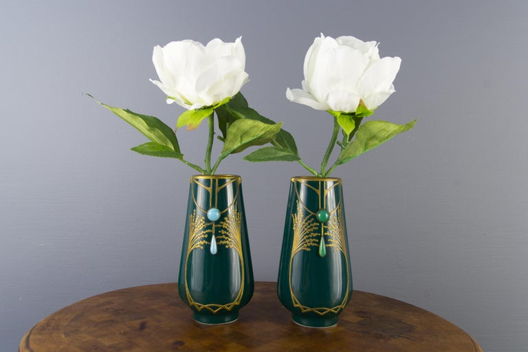 Pair of Art Nouveau Green Ceramic Vases Decorated with Glass Stones For Sale 6