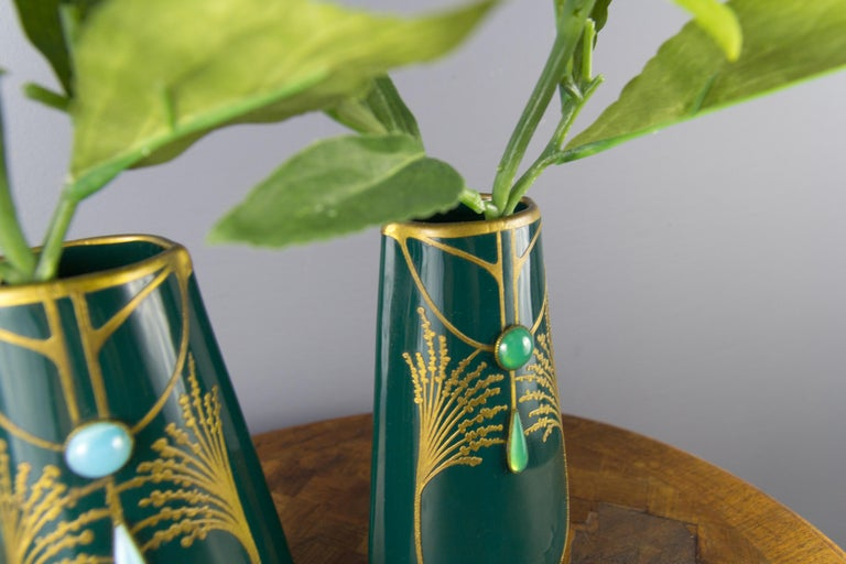 Pair of Art Nouveau Green Ceramic Vases Decorated with Glass Stones For Sale 7