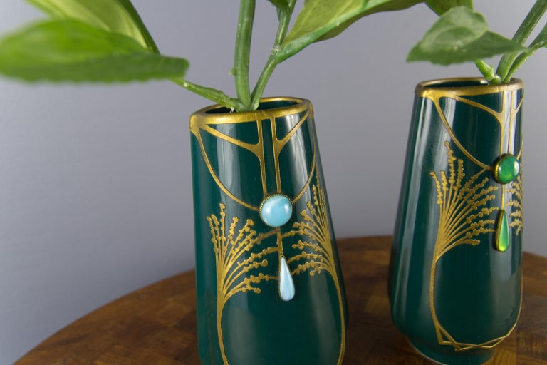 Pair of Art Nouveau Green Ceramic Vases Decorated with Glass Stones For Sale 8