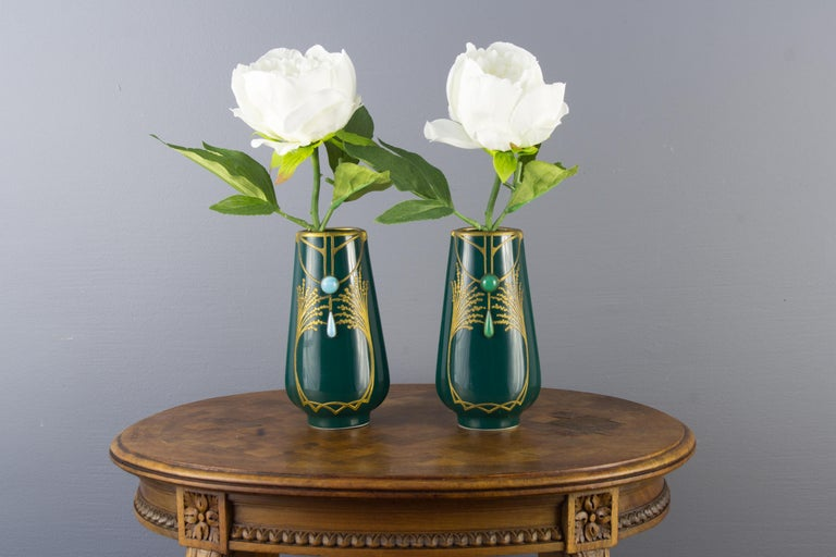 Pair of Art Nouveau Green Ceramic Vases Decorated with Glass Stones For Sale 9
