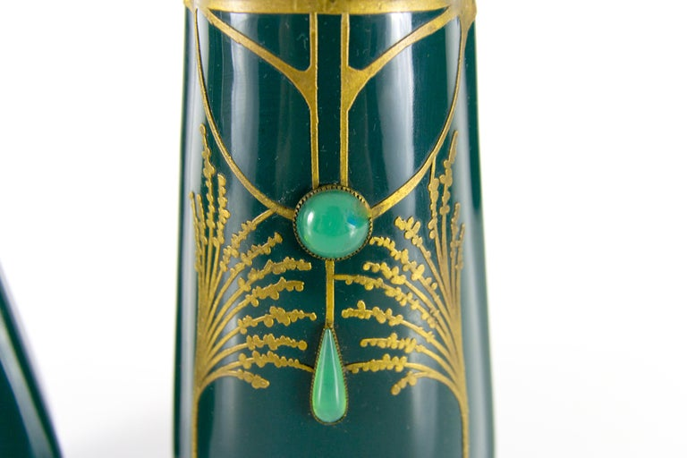 Pair of Art Nouveau Green Ceramic Vases Decorated with Glass Stones For Sale 11