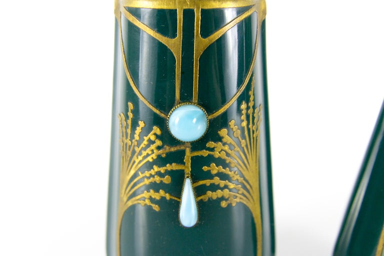 Pair of Art Nouveau Green Ceramic Vases Decorated with Glass Stones For Sale 12