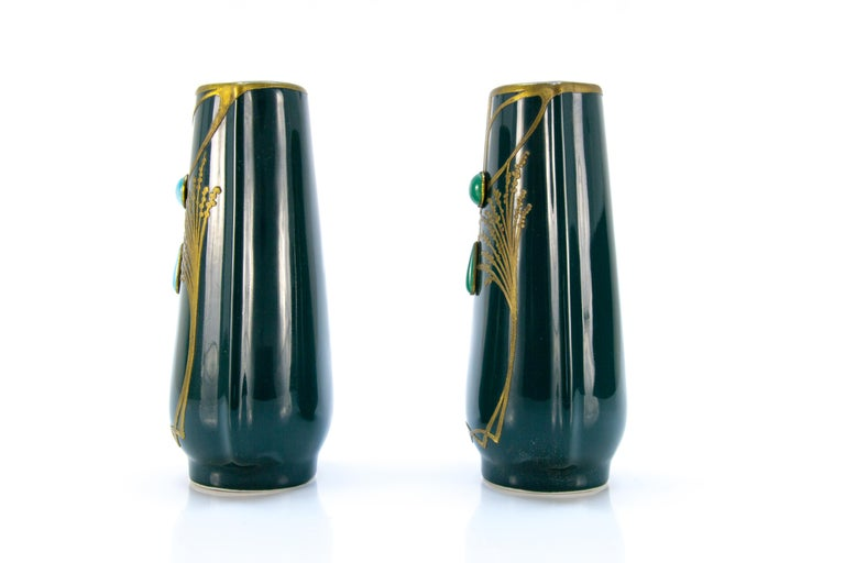 French Pair of Art Nouveau Green Ceramic Vases Decorated with Glass Stones For Sale
