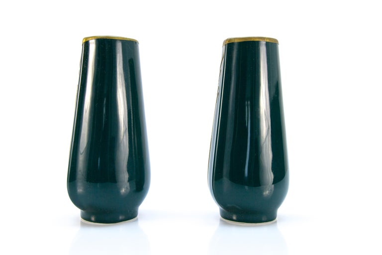 Hand-Painted Pair of Art Nouveau Green Ceramic Vases Decorated with Glass Stones For Sale