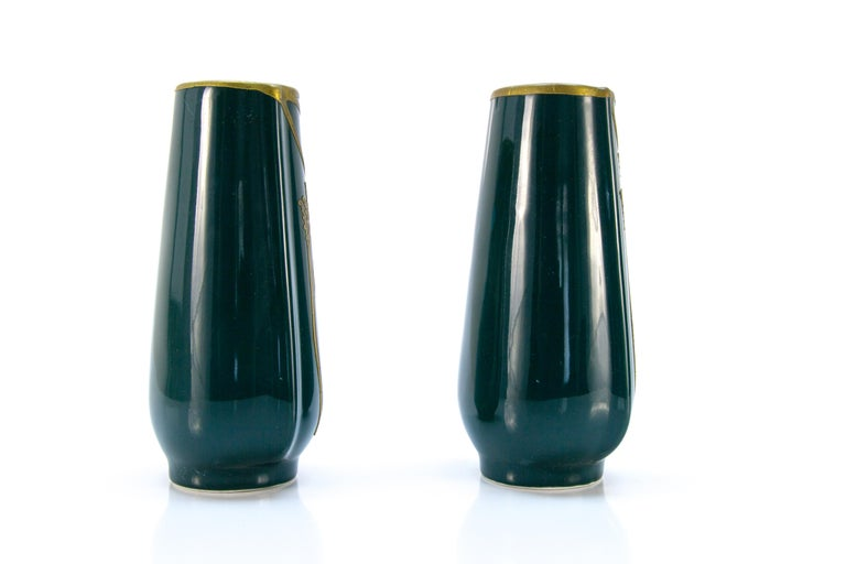 20th Century Pair of Art Nouveau Green Ceramic Vases Decorated with Glass Stones For Sale