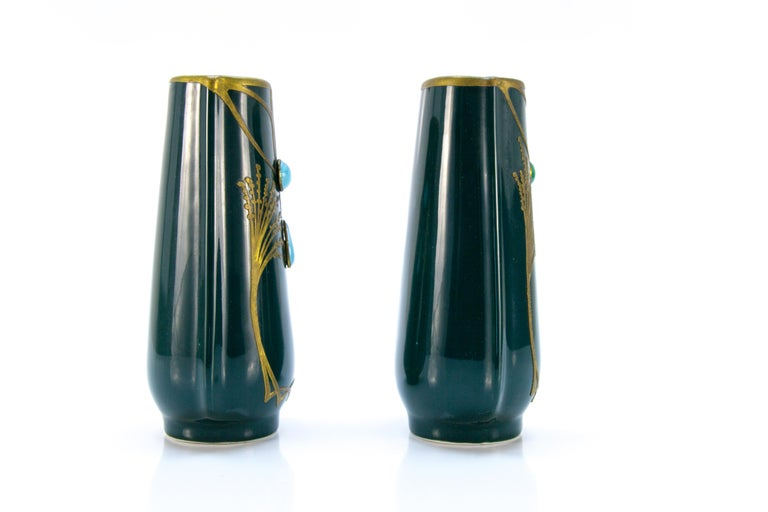 Pair of Art Nouveau Green Ceramic Vases Decorated with Glass Stones For Sale 1