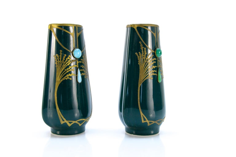 Pair of Art Nouveau Green Ceramic Vases Decorated with Glass Stones For Sale 2